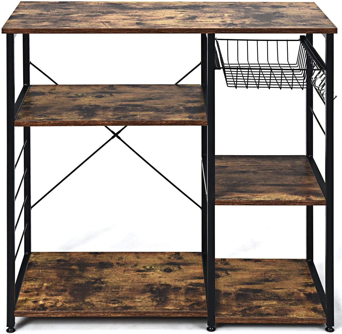 Standing Coffee Bar Table Metal Frame Giantex Kitchen Baker/'s Rack Industrial Style Microwave Oven Stand with Wire Basket Rustic Brown 6 Hooks 3 Storage Shelves