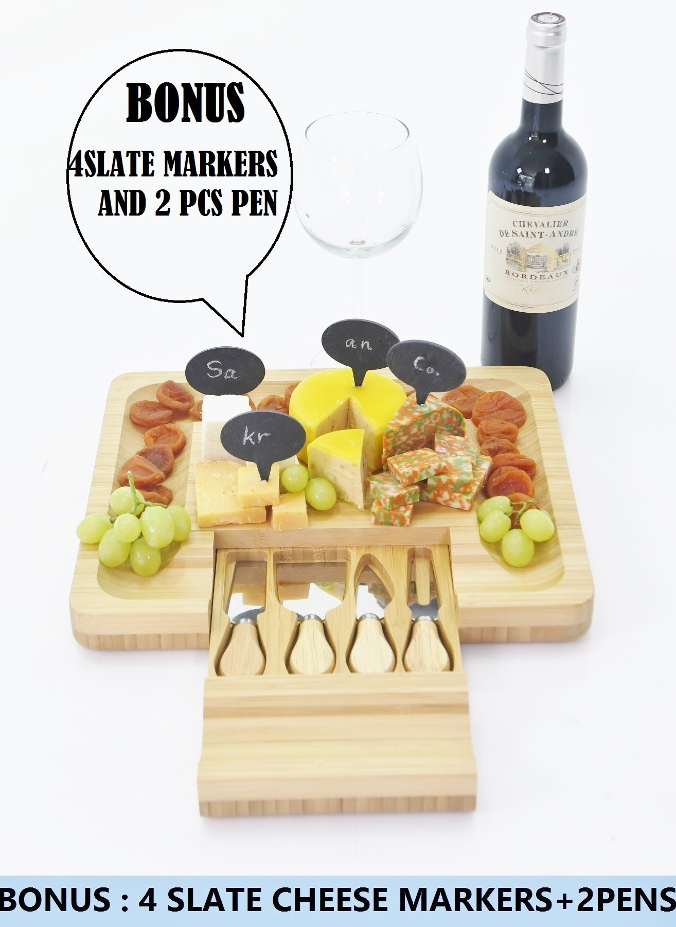 Sakranco Cheese Board Tray With Slide Out Drawer & Cutlery Set (Knife, Spreader, Fork & Shaver) |BONUS Complimentary 4 Slate Markers & 2 Pens | 100% Natural Bamboo Platter For Crackers, Fruit, Meat ..