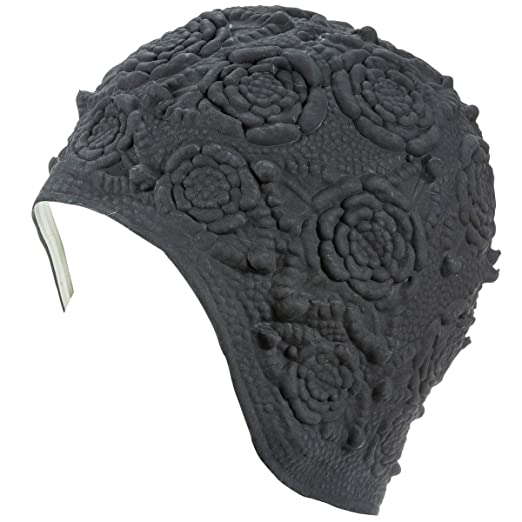 1950s Women's Hat Styles & History Latex with Embossed Flower Pattern Ornament Swim Bathing Cap ( Available in 6 Colors) $14.72 AT vintagedancer.com