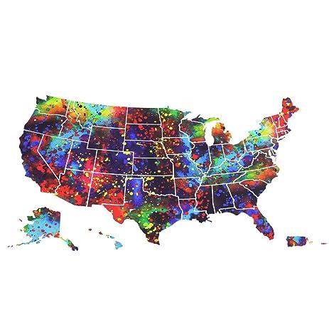 Amazoncom USA Map Wall Art Boieo Large Watercolor Durable