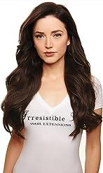 IRRESISTIBLE ME Clip in Human Hair Extensions Medium Brown (Color #4) - 100