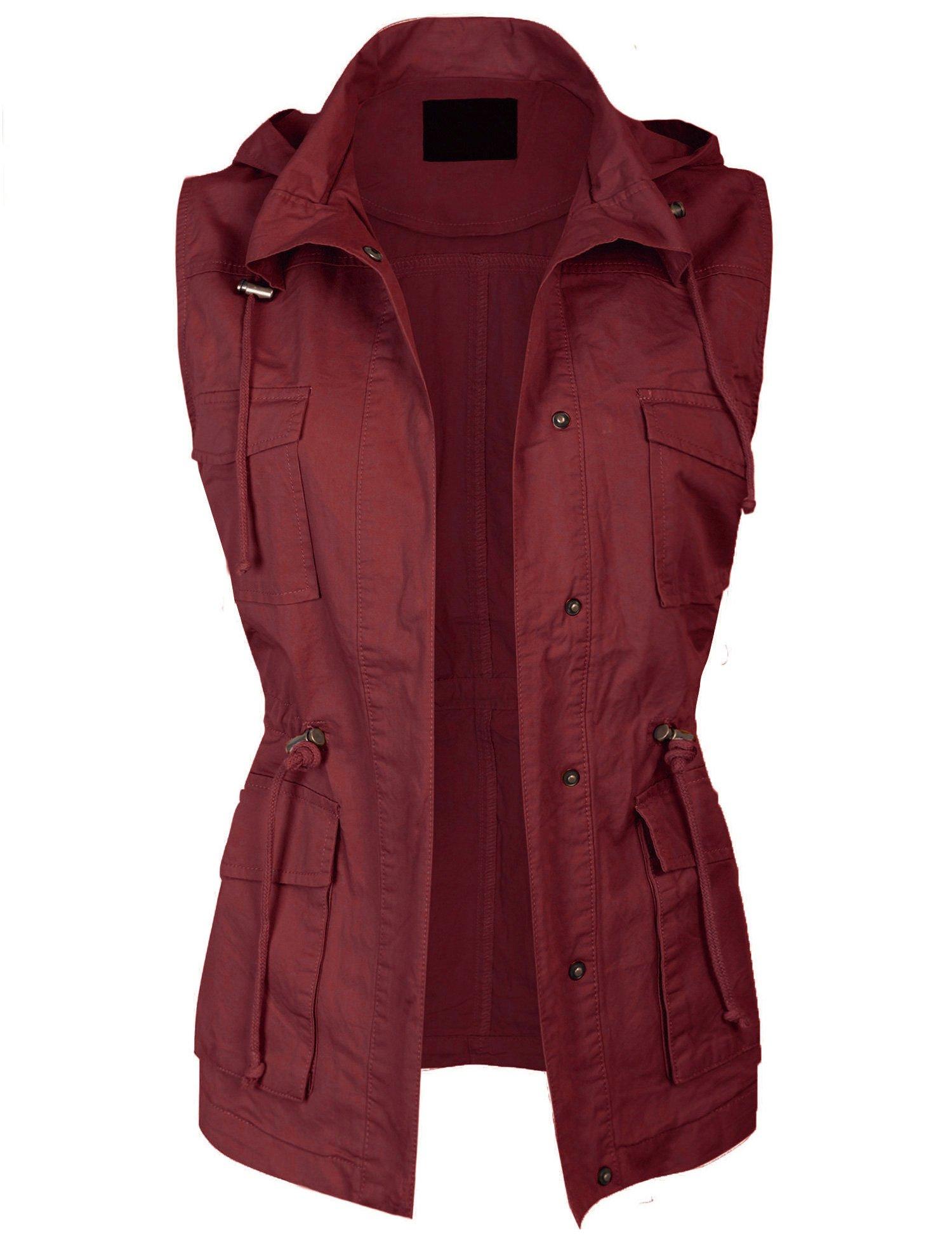 KOGMO Womens Military Anorak Safari Utility Vest with Hood-3X-WINE by KOGMO (Image #4)