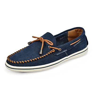 Suede Leather Casual Bean Shoes Men Shoelace Decorated Moccasins Slip-On Loafers
