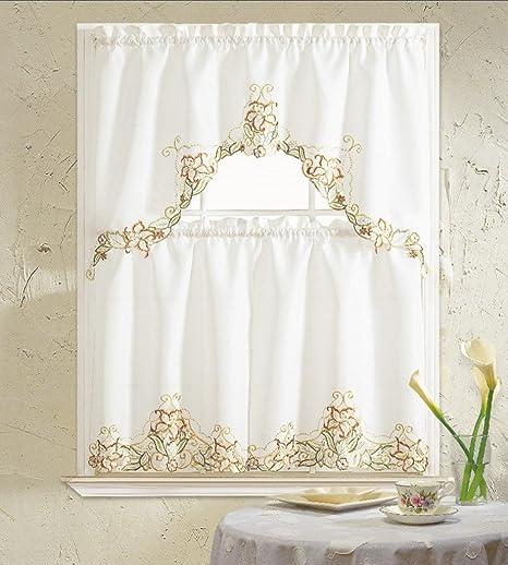B H Home Glory Floral Embroidered 3 Piece Kitchen Curtain Window Treatment Set Beige Furniture Decor