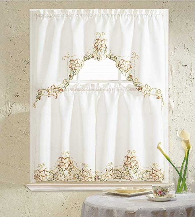 B H Home Glory Floral Embroidered 3 Piece Kitchen Curtain Window Treatment Set Beige Furniture Decor