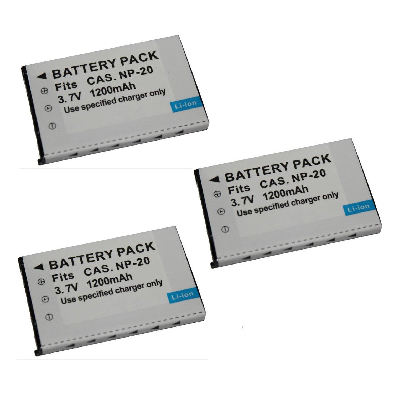 2 pcs Battery 2 Piezas 1200 mAh NP-20 CNP-20 CNP 20 CNP20 Bater/ía de la C/ámara para CASIO EX-S880 EX-Z6 EX-S880RD Exilim Card EX Zoom Series