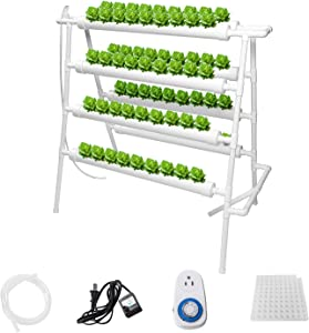 Sidasu Hydroponic Grow Kit 72 Sites 8 Pipes Hydroponic Planting Equipment Ebb and Flow Deep Water Culture Balcony Garden System Vegetable Tool Grow Kit