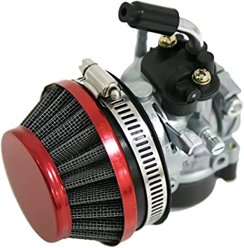 Red 60MM Air Filter For Carb Carburetor 2 Stroke Motorized Bicycle 49cc to 80cc