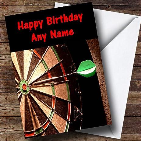 Dartboard Darts Fan Personalized Birthday Greetings Card