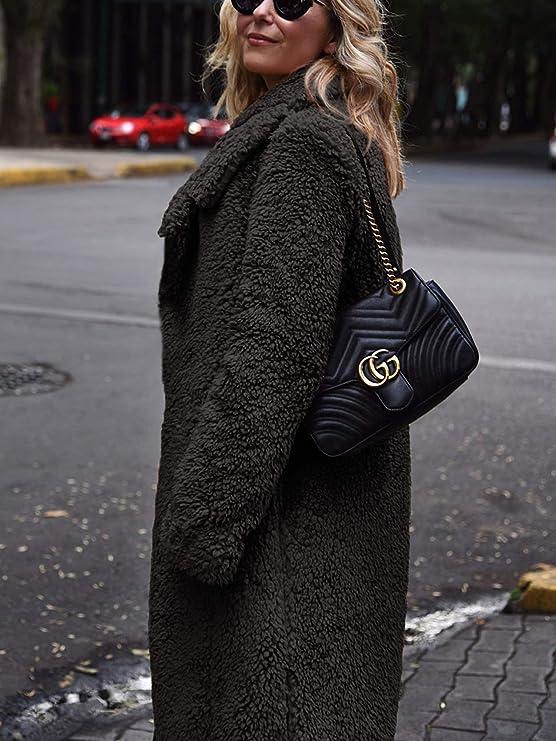 Hibluco Womens Open Front Lapel Faux Fur Long Cardigan Coat with Pockets at Amazon Womens Coats Shop