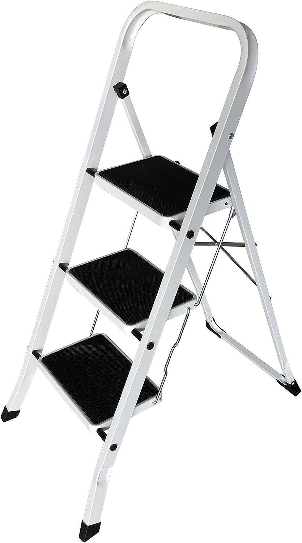 Escalera plegable de 3 peldaños, escalera con barra de seguridad, plegable, fácil de guardar, soporta hasta 150 kg: Amazon.es: Bricolaje y herramientas