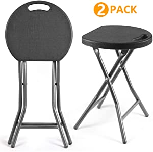 5Rcom Portable Stools Folding Lightweight Set of 2,Plastic Foldable Stool with Heavy Duty Steel Frame Legs,300lbs Capacity/18.1 inch Height/2 Pack,Black