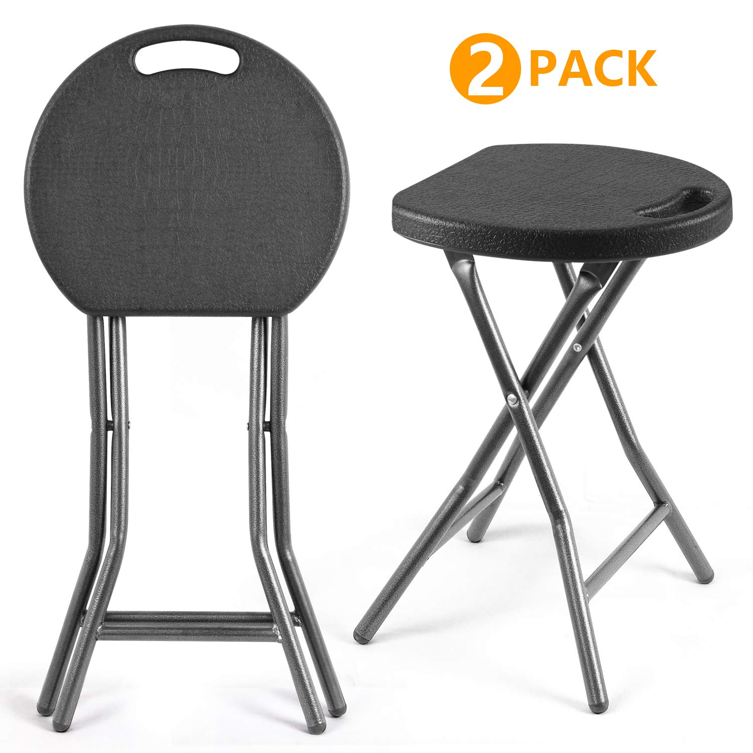 5Rcom Portable Stools Folding Lightweight Set of 2,Plastic Foldable Stool with Heavy Duty Steel Frame Legs,300lbs Capacity/18.1 inch Height/2 Pack,Black by 5Rcom