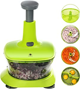 kalokelvin 9 in 1 Hand Vegetable Food Chopper with Kitchen Processor for Chopping Blending Salad Spinning Drying-7.2 Cup/1.7L