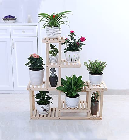 Amazon.com : ZENGAI Solid Wood Flower Racks Move The Pulley Indoor Assembly Pots Showcase, 2 Colors Plant Container (Color : 1#, Size : 852596cm) : Garden & ...