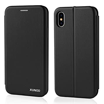 Funda iPhone X Negro,XUNDD Carcasa Protectora Slim Folio Cartera y Fundas Tapa movil Case Cover TPU Cuero impresión Flip Libro Leather Wallet Con ...