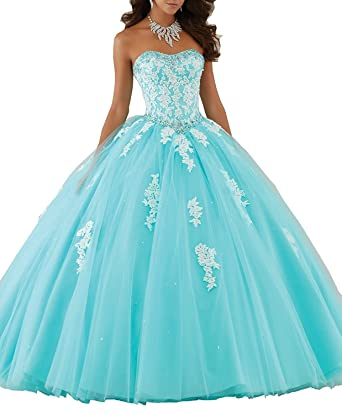 Victoria Prom Beaded Lace Prom Dresses Long Ball Gown Quinceanera Dresses Aqua us2