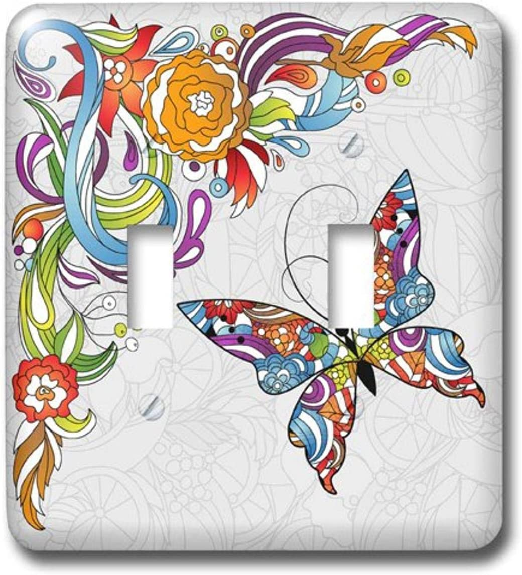 3drose Lsp 102507 2 Abstract Flower Swirl And Colorful Butterfly Vector Design Double Toggle Switch Multicolor Amazon Com
