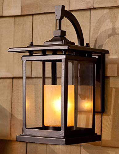 Foxmoore Mission Outdoor Wall Light Fixture Bronze 14 1/2″ Clear and Amber Glass Candle