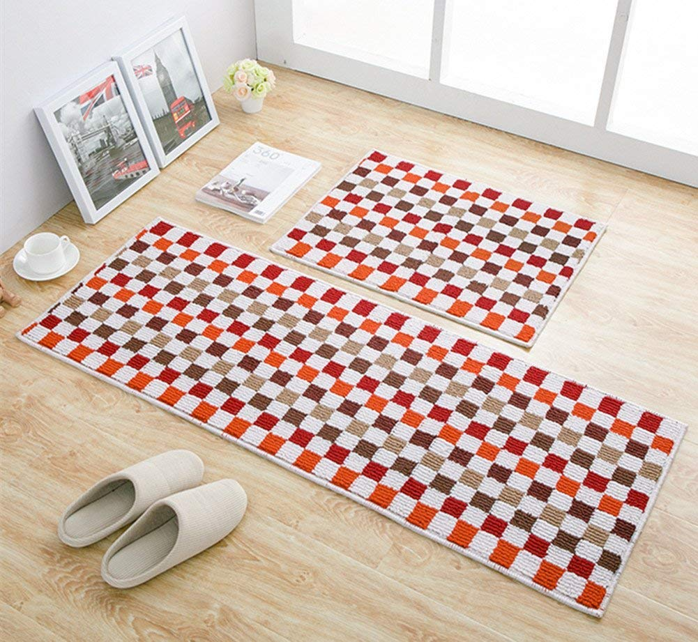 EUCH Non-slip Rubber Backing Carpet Kitchen Mat Doormat Runner Bathroom Rug 2 Piece Sets,17''x47''+17''x23'' (Red Mosaic) by EUCH (Image #2)