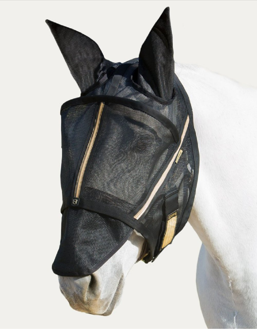 Noble Outfitters Guardsman Fly Mask Standard with Ears Protection Black XL Horse UV/UPF 25+
