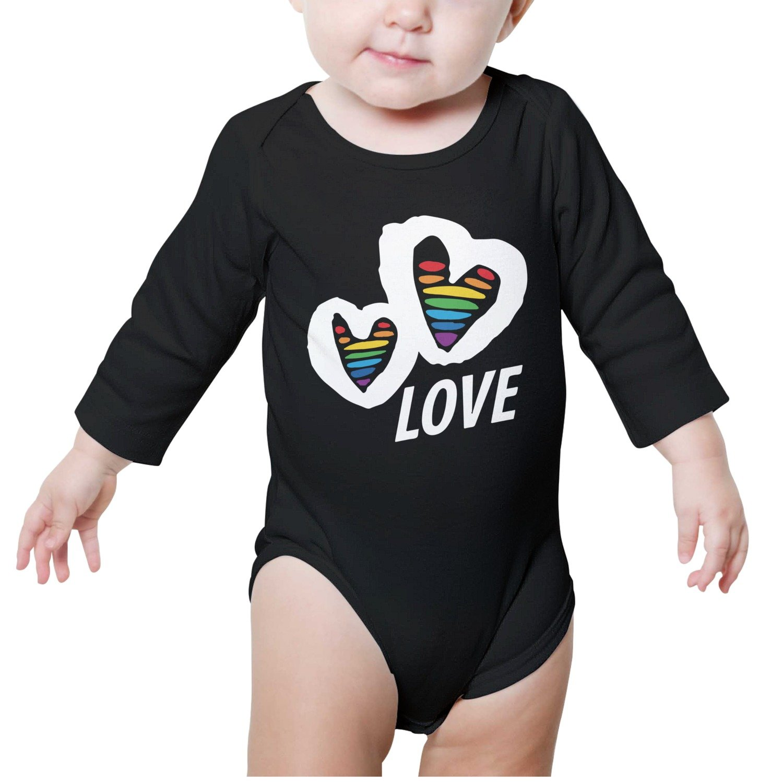 98a2b13b9e8f Juliuse Marthar Organic Cotton Rainbow Heart Baby Onesie Long Sleeve ...