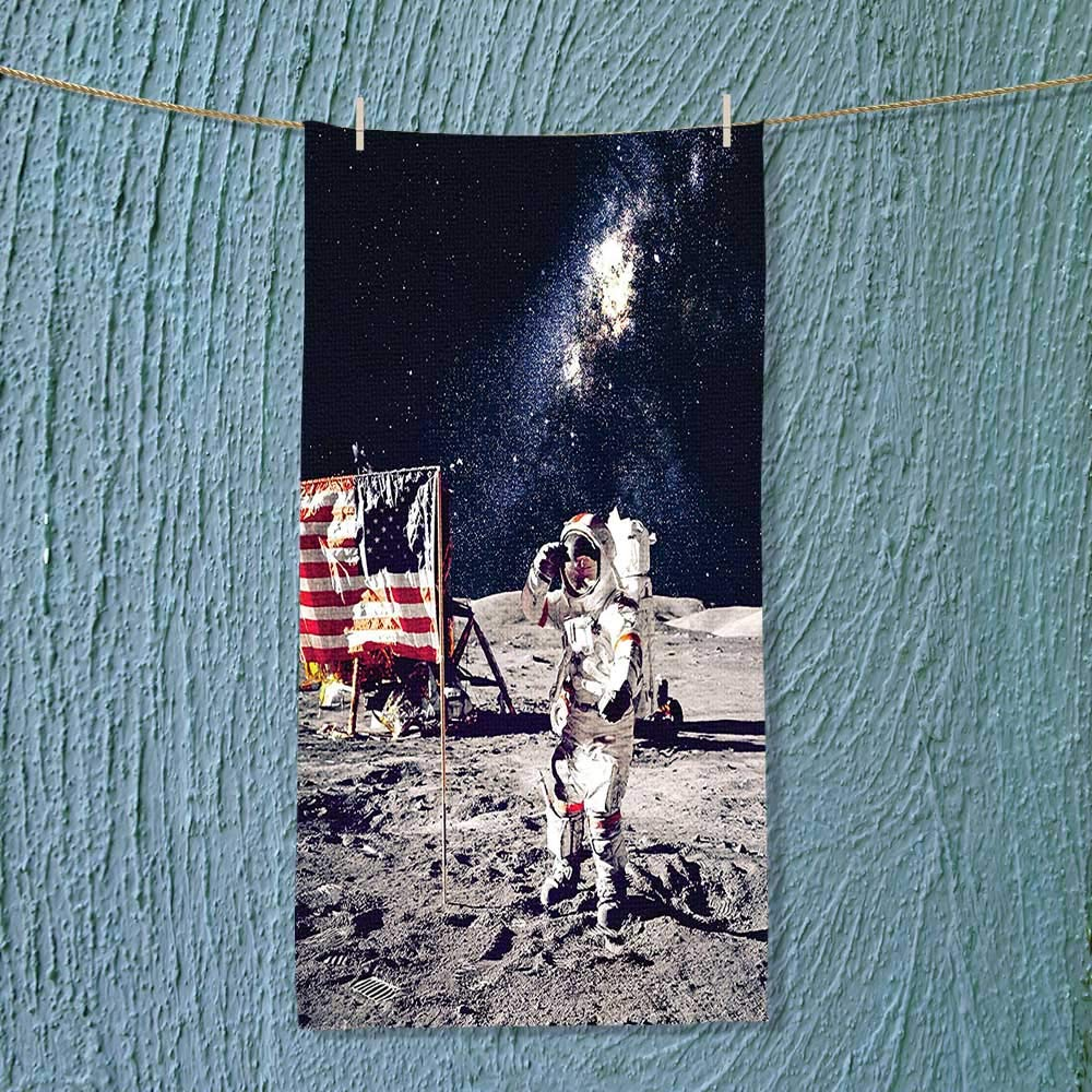 SOCOMIMI Quick Dry Towel Large Decor American Spaceman on Moon Future Solar Discovery in Deep Technology View Blue Fluffy, and Absorbent, Premium Quality
