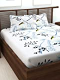 Story@Home Floral Print 240 TC 100% Cotton Double/Queen Size Bed Bedsheet with 2 Pillow Covers, White