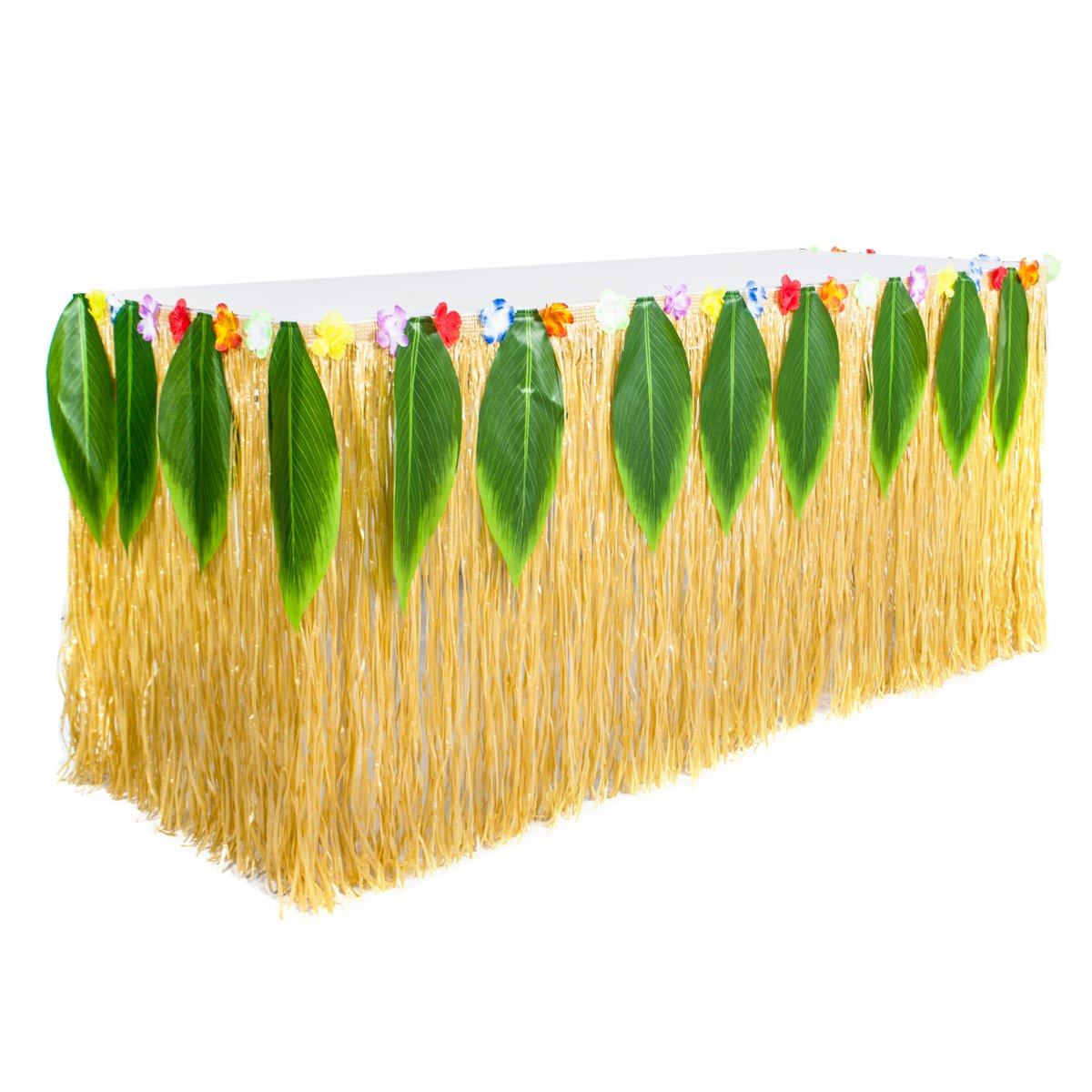9ft Yellow Luau Table Skirt Hawaiian Grass Table Skirt with 15pcs Luau Leaf and Hula Hibiscus Flower for Luau Party Supplies (Raffia Table Skirt)