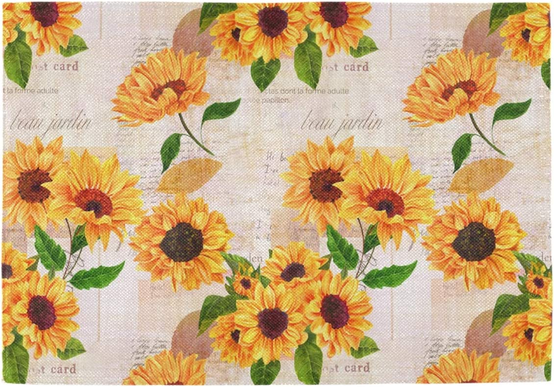 Oarencol Vintage Sunflower Newspaper Floral Placemats Table Mats Set of 6, Heat-Resistant Washable Clean Kitchen Place Mats for Dining Table Decoration