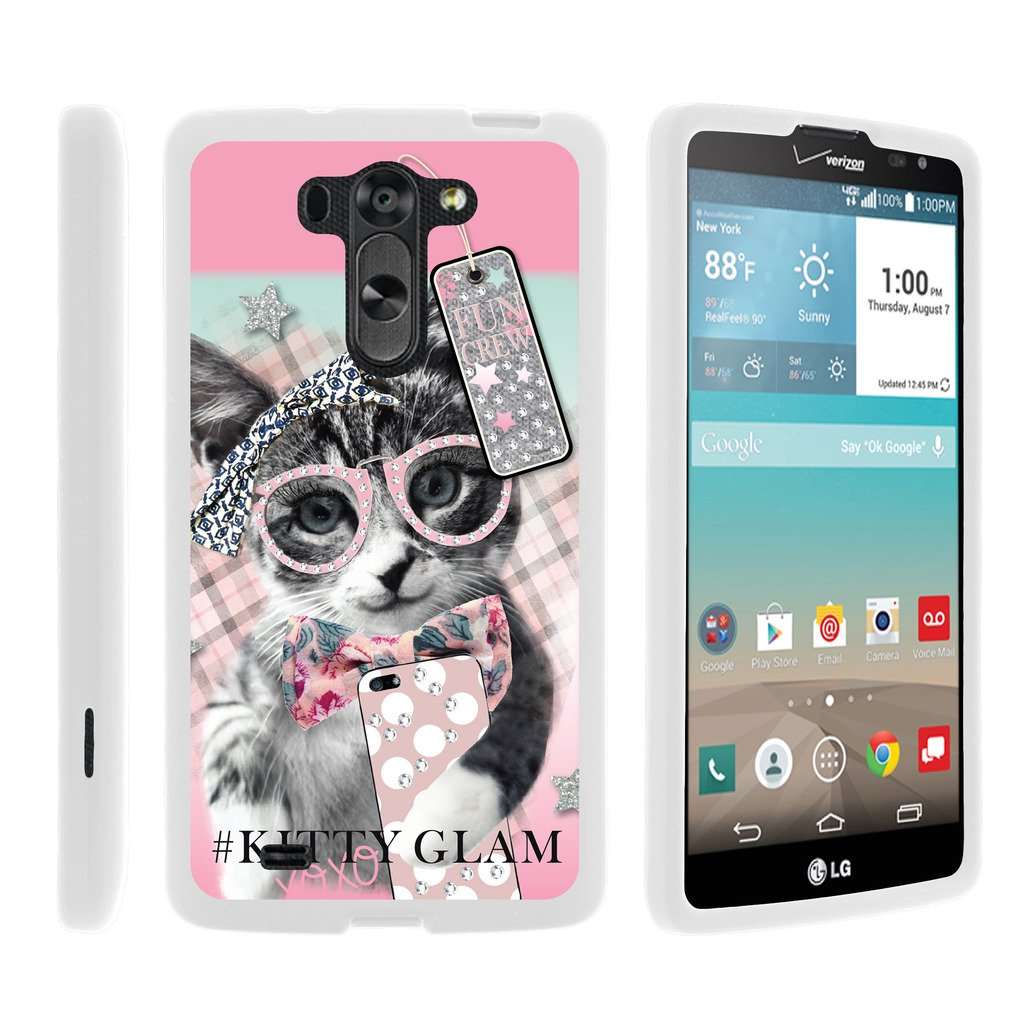 TurtleArmor | Compatible with LG G Vista Case | LG G Pro 2 Lite Case [Slim Duo] Slim Snap On 2 Piece Hard Cover Protector Case Girl on White - Hipster Cat