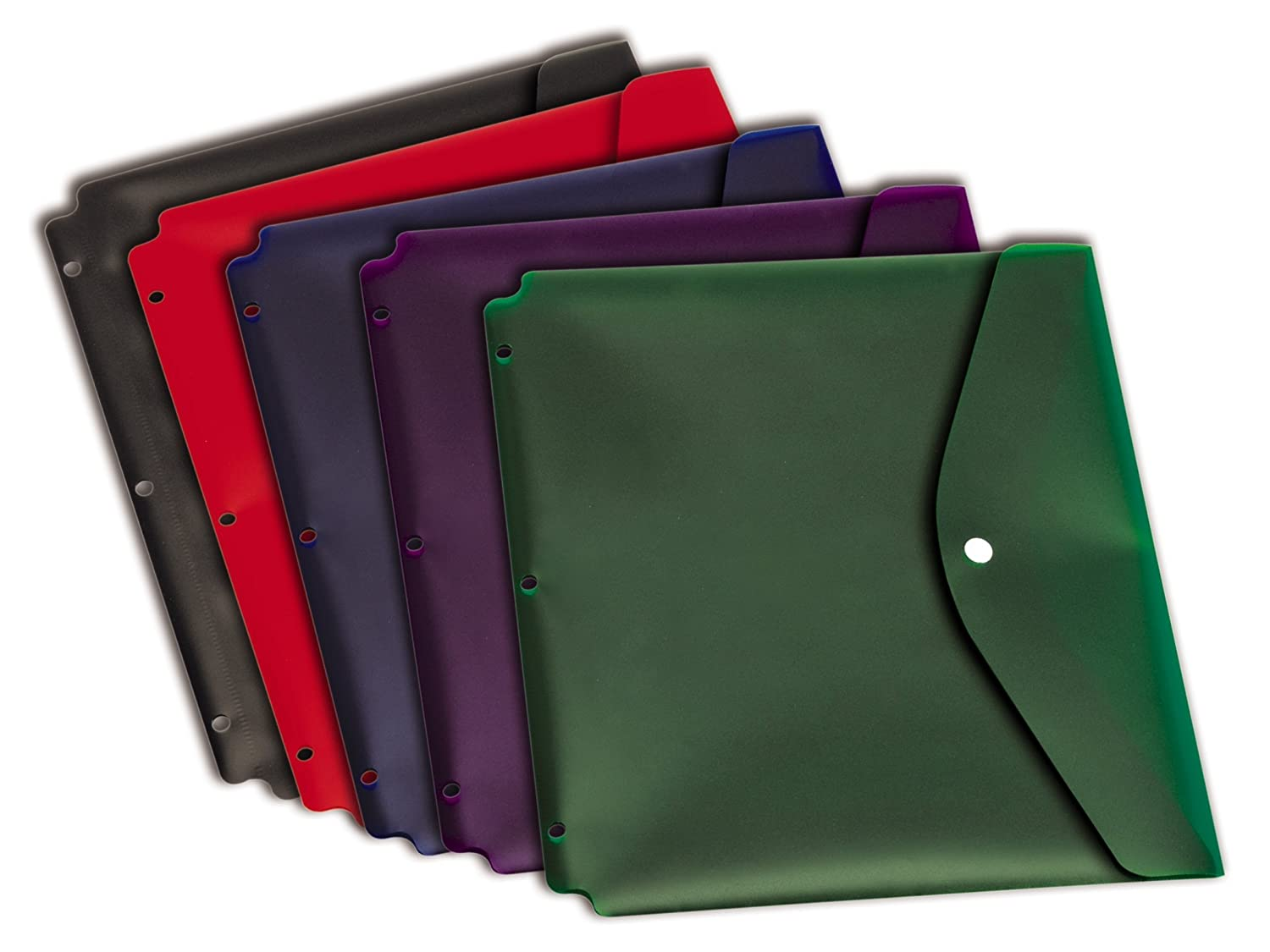 Cardinal Dual Pocket Snap Envelope with Binder Holes, Letter Size, Assorted Colors, 5 per Pack (14950)