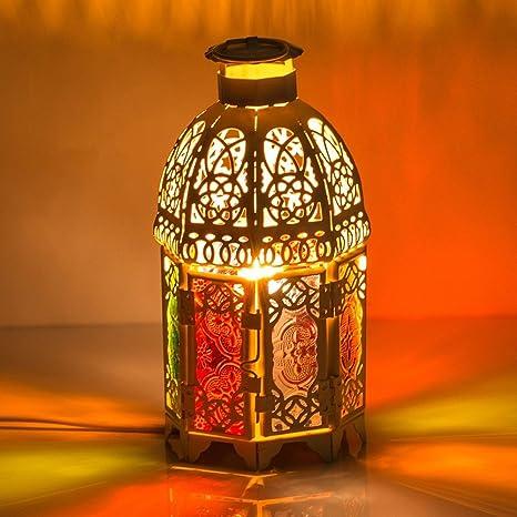 ZHGI Marruecos decoración retro lámpara de mesa en hierro ...