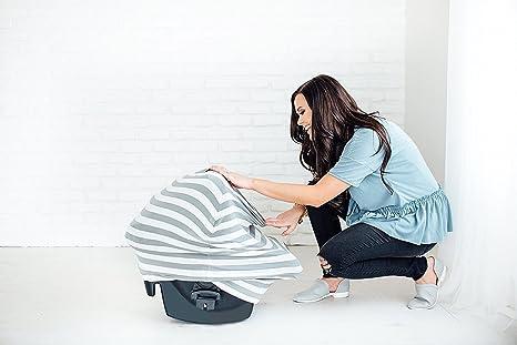 Manta para cochecito de lactancia cuello para el cuidado enfermeras beb/é multiusos/ /Carcasa Auto nido de /ángel funda para tapa cesta de compra Shopping pr/áctico regalo de mam/á Rayures de Gris/&Blanc