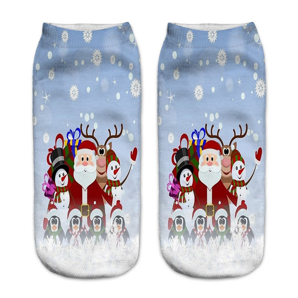 Charberry Clearance Unisex Santa Claus 3D Printed Christmas Casual Socks Low Cut Ankle Socks (E)