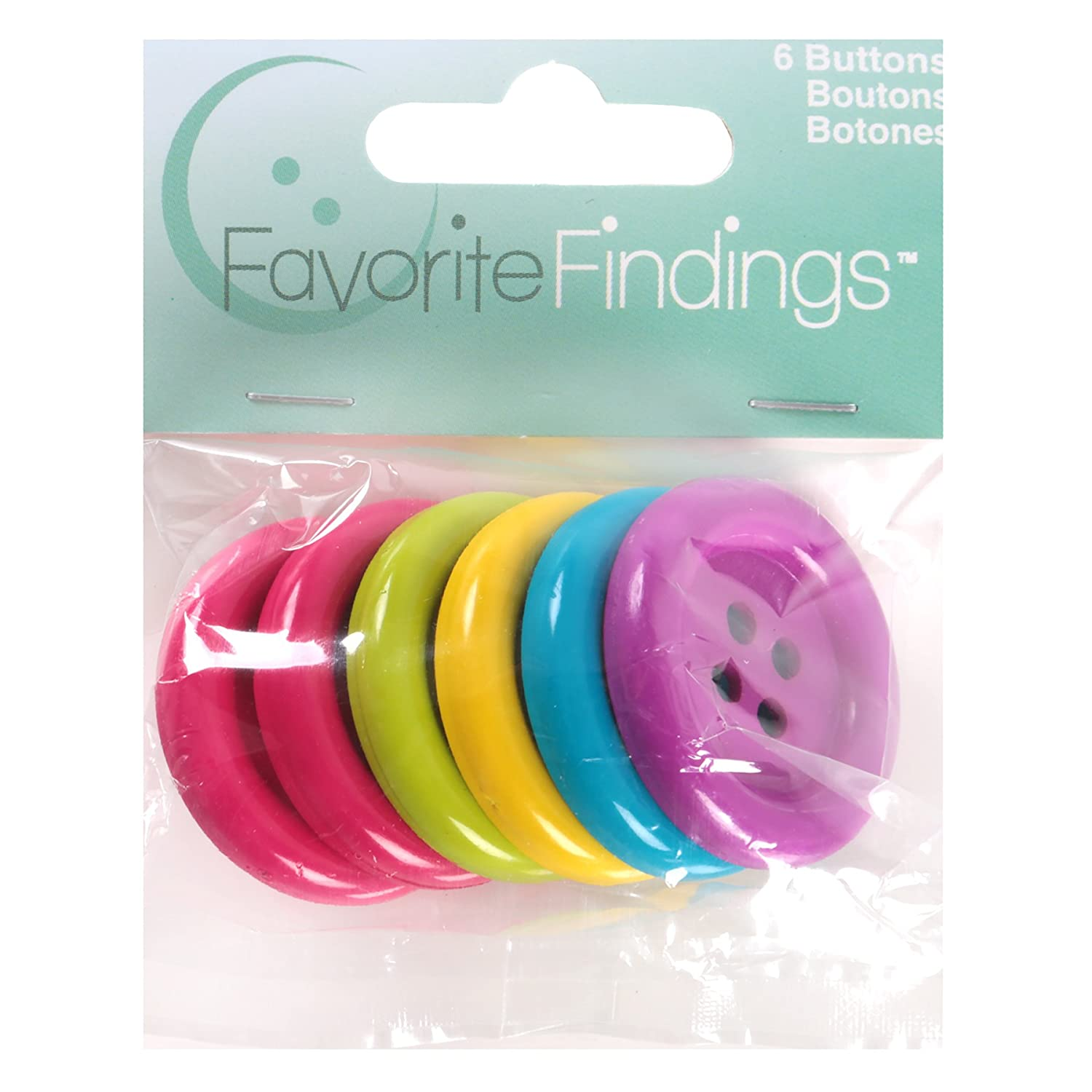 Blumenthal Lansing Larger Round Buttons, 6 Pack All One Size and Style, Colors Included Hot Pink, Bright Green, Yellow, Turquoise and Purple 5500BIG-500