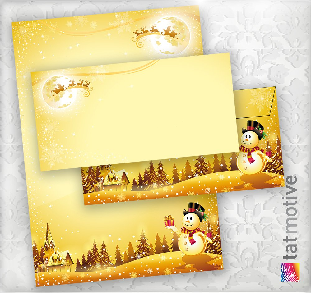 TATMOTIVE TOP-QUALITÄT Briefpapier Set Weihnachten Schneemann DIN A4 90g, Umschläge ohne Fenster, 500 Sets - Goldgelb B00983Q3ZG   Lebhaft und liebenswert