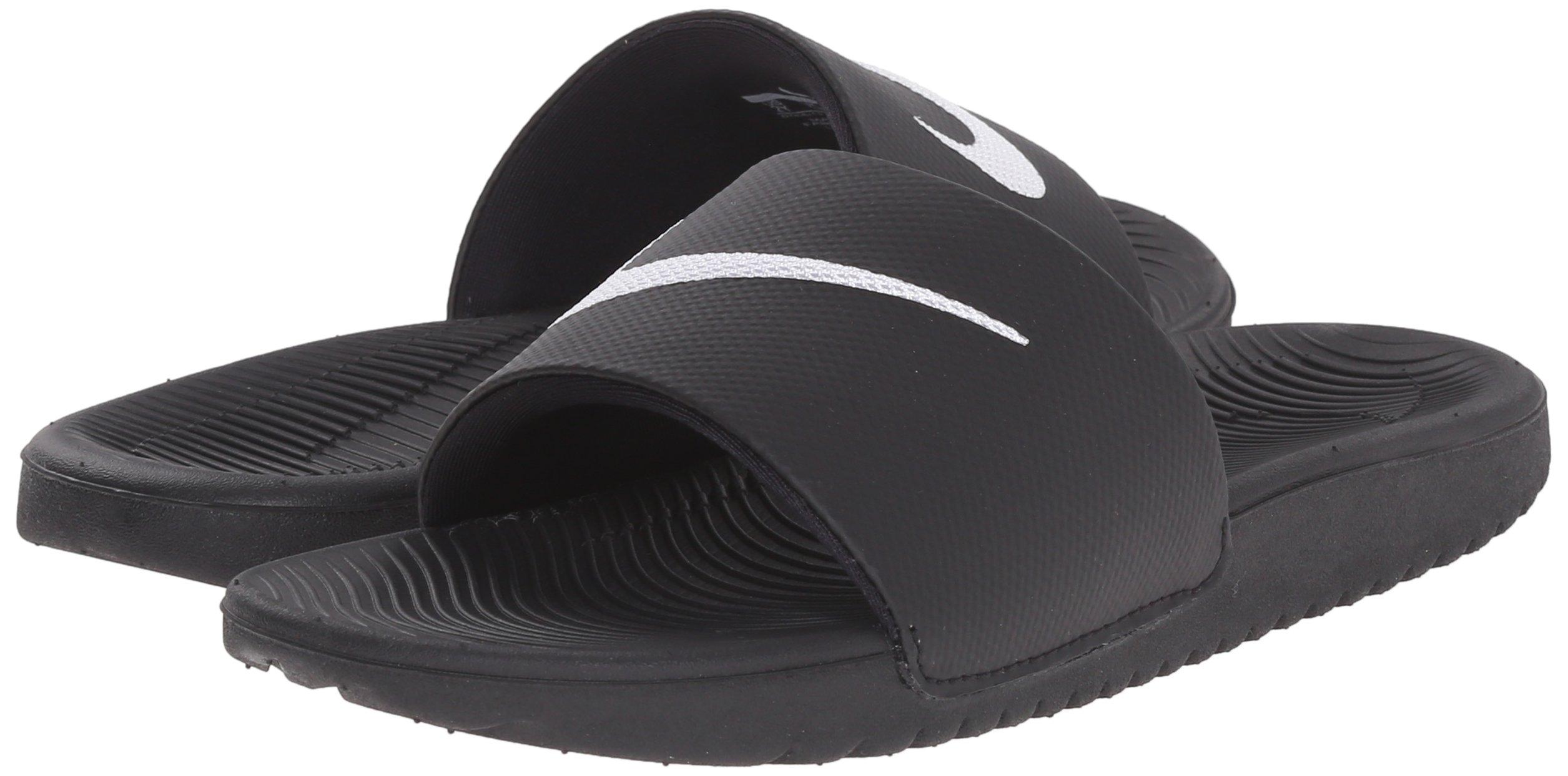 NIKE Kids' Kawa Slide Sandal, Black/White, 4 M US Big Kid by Nike (Image #6)