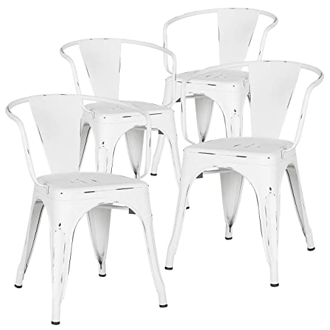 Fantastic Poly And Bark Trattoria Modern Mid Century Dining Kitchen Metal Side Arm Chair In Distressed White Set Of 4 Bralicious Painted Fabric Chair Ideas Braliciousco