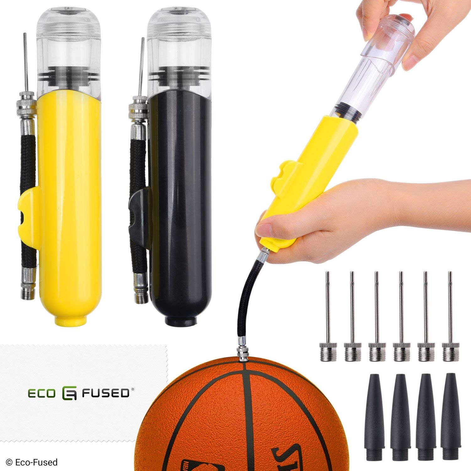 2x Ball Pump - Super Compact - Dual Action (Pumps Air when you Push and Pull) - For Sport Balls (Basketball, Soccer, Football, Rugby, Volleyball, Yoga, etc.) and Inflatables (Beach Balls, Pool Floats)