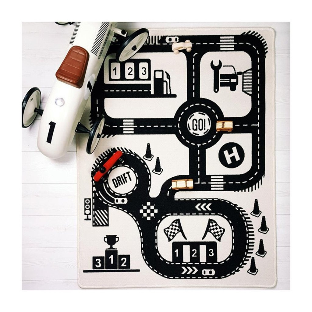 Baby Road Adventure Game Playmat Floor Carpet for Kids Room Decor Bedroom Cotton Carpet Activity Crawling Mat 35.1 x 54.6 in WHYQZ