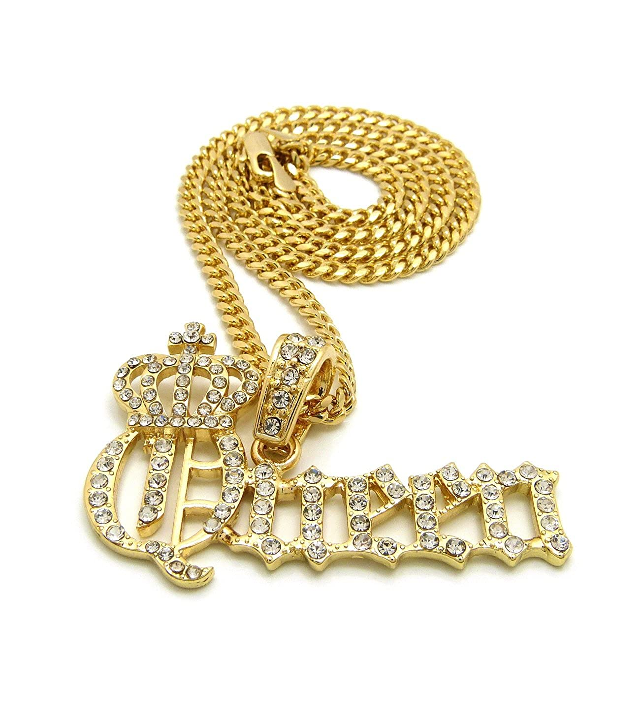 Stone Stud Crowned Queen Pendant with 3mm Cuban Chain Necklace in Gold-Tone