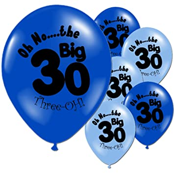 10 Light And Dark Blue 30th Birthday Party Balloons