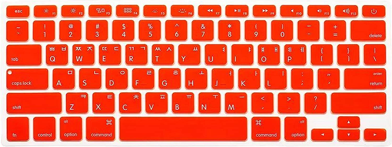 for Mac Book Silicone Keyboard Cover for MacBook Air Pro Retina 13 15 17 Kr Korean Keyboard Laptop Skin Film-SkyBlue