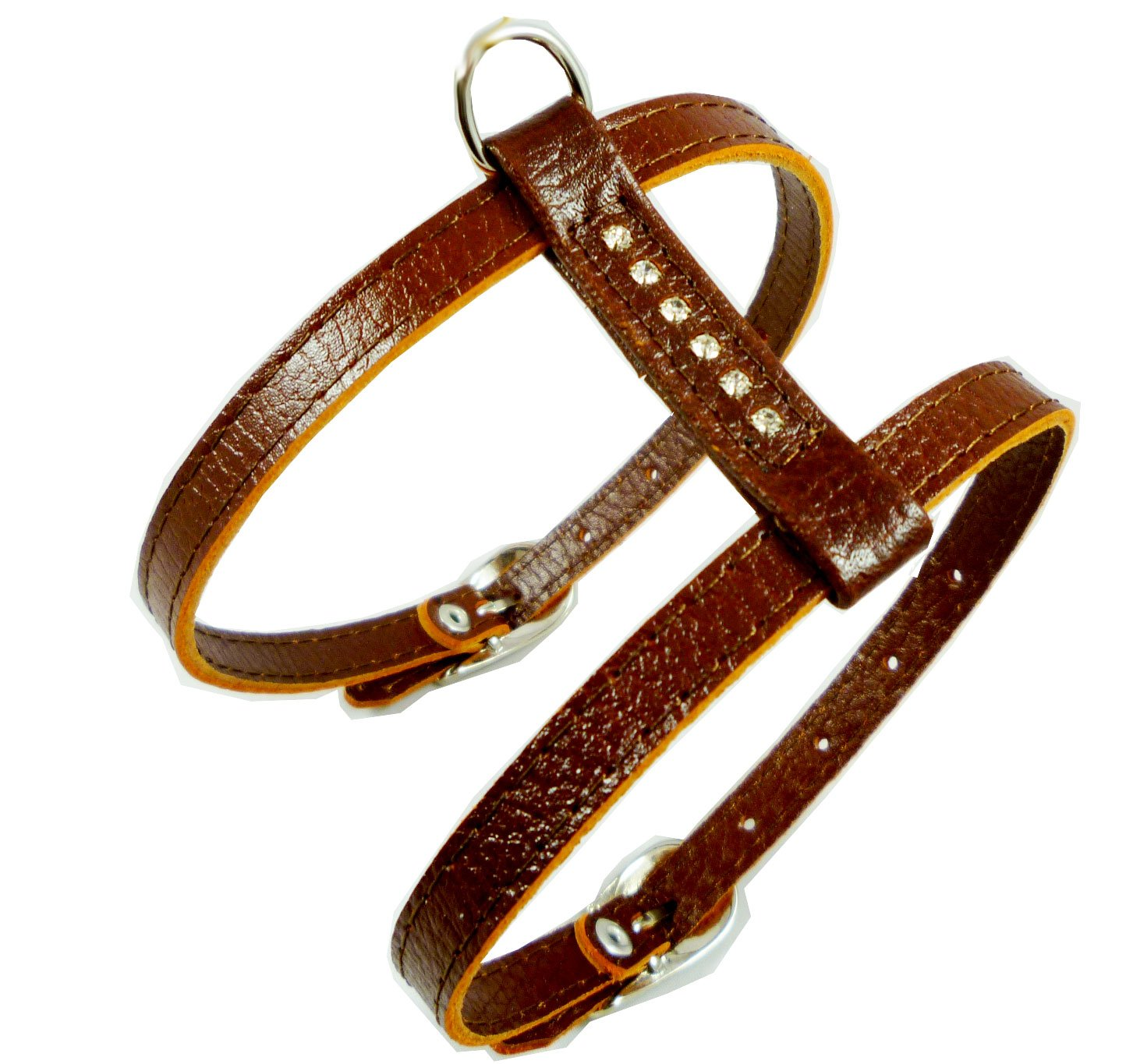 Genuine Leather Dog Harness for Toy Breeds X-small. 10 -13  Chest Circumference Rhinestones (Brown)