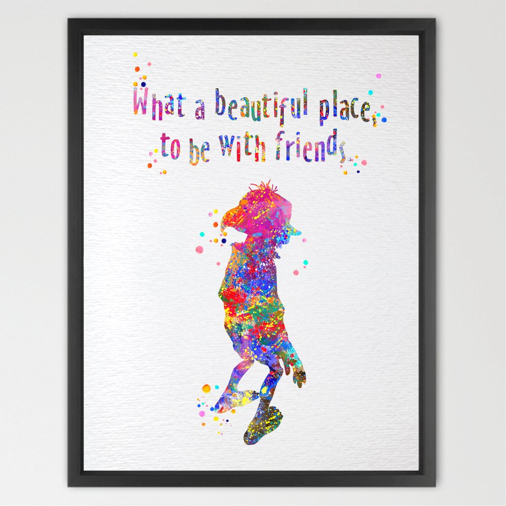 Dignovel Studios Unframed 8X10 What A Beautiful Place To Be With Friends Watercolor illustration Art Print Friendship Quotes Inspirational Motivational Nursery decor Kids Art N082