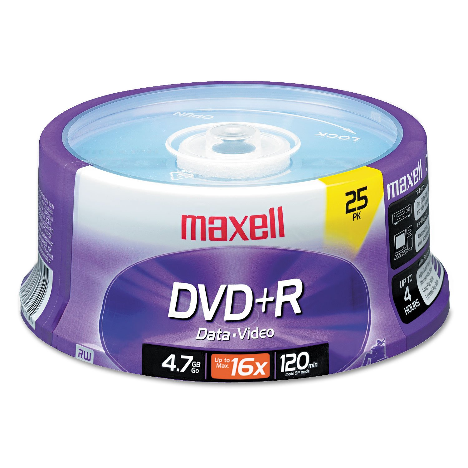 MyDirectAdvantage Maxell 639011 DVD+R Discs, 4.7GB, 16x, Spindle, Silver, 25/Pack