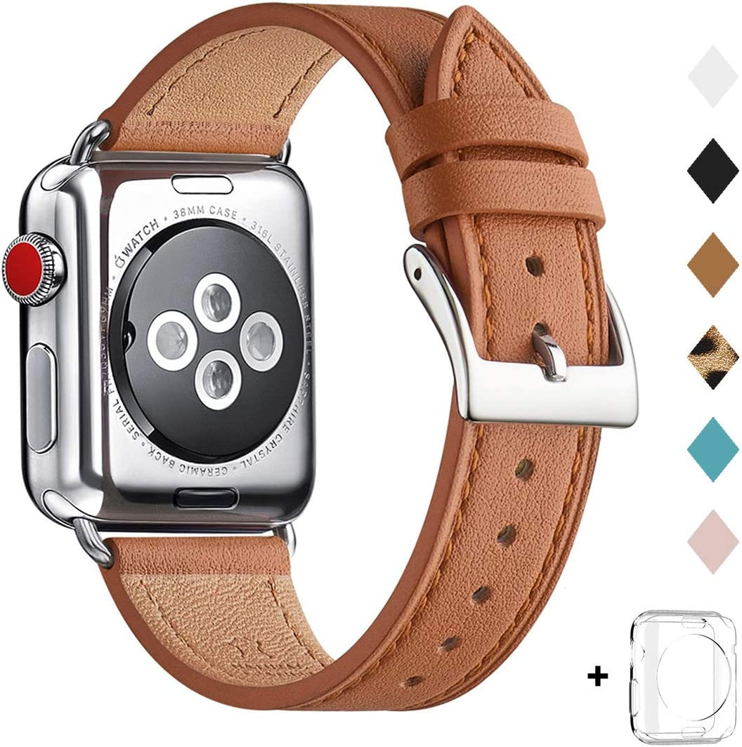 Bestig Band Compatible for Apple Watch 38mm 40mm 42mm 44mm, Genuine Leather Replacement Strap for iWatch Series 6 SE 5 4 3 2 1, Sports & Edition (Brown Band+Silver Adapter, 38mm 40mm)