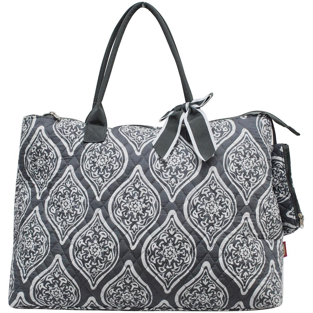 NGIL Quilted Cotton Extra Large Overnight School Tote Bag 2018 Spring Collection (Marquise in Bloom Grey) by NGIL (Image #1)