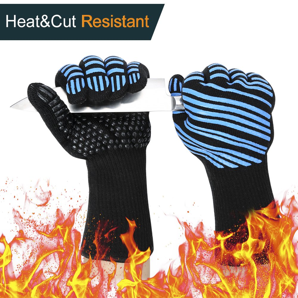 932°F Extreme Heat Resistant BBQ Gloves, Flexible Kitchen Oven Mitts - FDA Food Grade L5 Cut Resistant Gloves, Silicone Non-slip Cooking Gloves for Grilling, Baking, Cutting - Black & Blue (1 Pair)